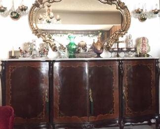 Marble top inlaid sideboard