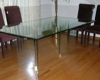 All-glass dining room table