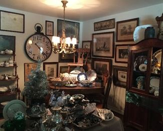 Looking into the Dining room, great china, ironstone, transfer ware, silver plate and art