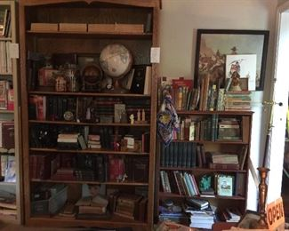 This bookcase is full of religious books, and great collectables, the smaller bookcase has vintage children's books, western, gardening and lots more. Great western art.