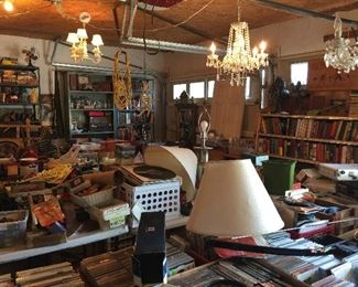 Some of the chandeliers in the garage, DVD,CD, vintage vinyl, toys, collectables