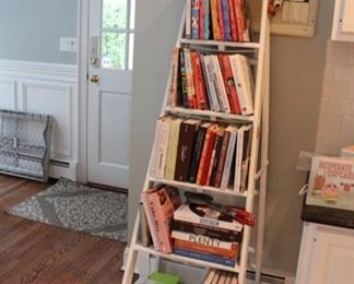 Shabby chic painted ladder & cookbooks