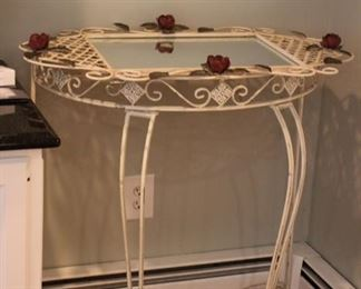 Painted metal console table with matching mirror