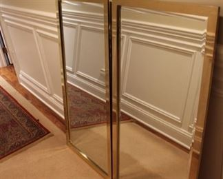 Pair brass framed mirrors