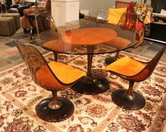 Chromecraft vintage glass top table with smoked lucite chairs