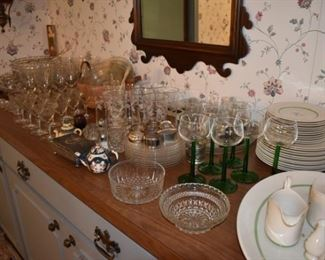 Buffet Full of Glassware, Tea Pots, China, Stemware, Luncheon Sets