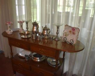 Buffet Tea Cat, Fenton Vases, Tea Set, Pewter, Candle Sticks