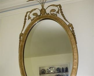 Oval Wood Gold Color Wheat Mirror