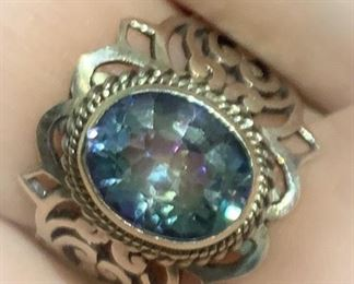 Designer Sterling Ring with mystic topaz