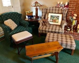 Clean, chairs, ottoman, bench, side table. Great for up north!