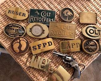 Colt revolver, police brass belt buckles