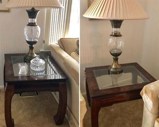 Matching glass side tables, matching glass and brass lamps