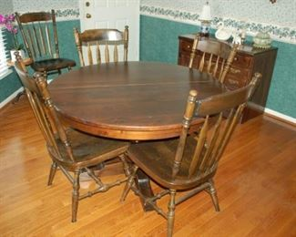"""Round dining table with 6 straight chairs, 48"""" diameter"""