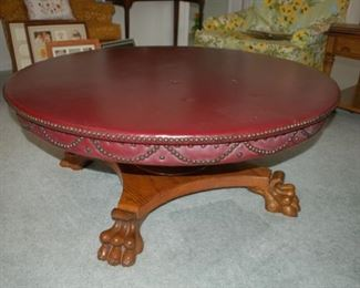 """Unique and beautiful leather top coffee table44"""" diameter x  18""""H"""