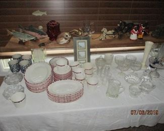 table of glassware