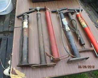 selection of old tire pumps