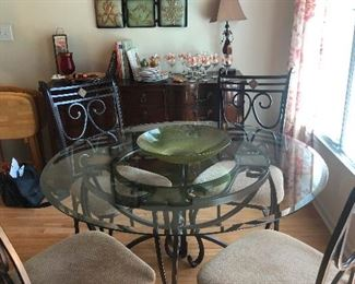 wrought iron glass-top dinette set