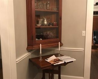 antique wood corner cabinet with glass