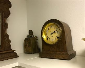 antique wood clock, working