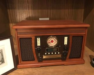 turntable and radio in faux vintage case