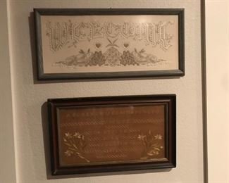 two needle work samplers, framed