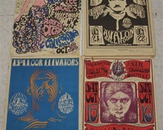LOT #8047 - LOT OF (4) VINTAGE ROCK POSTERS, INCL. AVALON