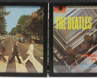 LOT #8048 - LOT OF (9) FRAMED BEATLES VINYL RECORDS