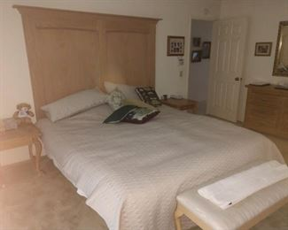 Cal King mattress, headboard, with matching dresser, armoire, & two night stands, there's even matching bench!