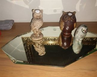 Owl collection, mirrored tray