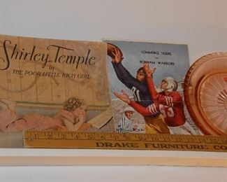 Vintage Shirley Temple book, advertising items and ephemera from Commerce and Bonham, Texas.