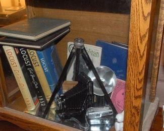 ETSU yearbooks and other memorabilia. Vintage cameras.