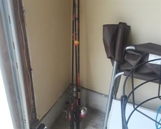 Fishing poles, some tackle