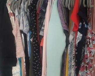 Clothing, Shoes & Boots, some new or like new. Clothing size med 7/8, shoes and boots size 9.  This is a great sale to freshen up a wardrobe or plan ahead with a large selection of boots.