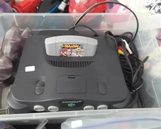 Nintendo 64 with games.