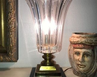 Antique fluted tulip glass light