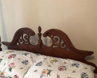 Detail of four poster bed headboard