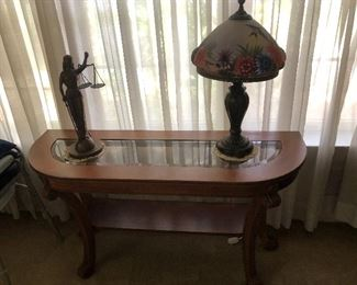 Sofa table with beveled glass