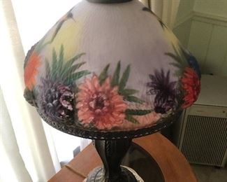 Pressed frosted glass shade, reverse hand painted