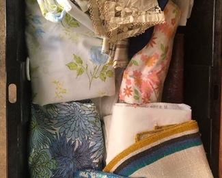 A load of vintage fabrics, linens