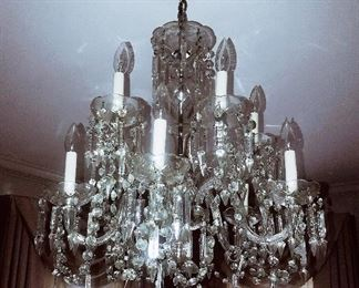 Gorgeous cut lead crystal Pair of Parlor Chandeliers