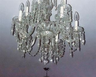 Matching Cut Lead Crystal Chandeliers with Chrome Canopies, 11 lights,