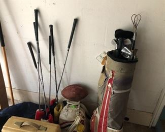 Golf clubs, bowling balls, misc sports items