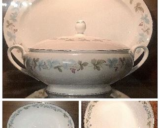 Vintage, Fine China of Japan  pattern#6701 circa1967 lidded soup tureen, round vegetable bowl, oval chop plate, oval vegetable bowl, salt/pepper shakers