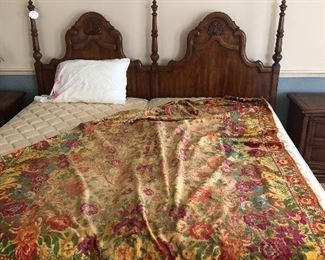 Antique silk velvet throw.  Stanley king headboard, twin mattresses