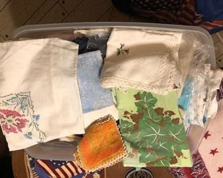 Vintage linens, table cloths, embroidered pieces