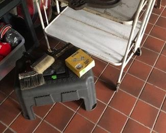 Old folding medical cart.  Rubber tool box/step stool.  Paint brushes