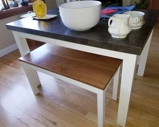 Custom LIMESTONE top table and 2 cherrywood benches
