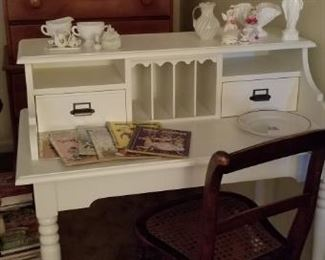 newer desk with milkglass. golden books. nice maple cained chair