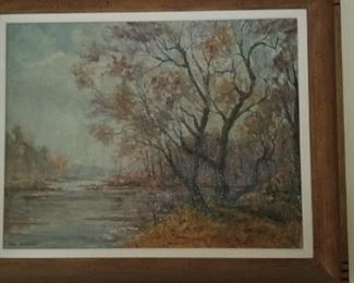 a fall scene Gathman oil painting. our Maumee River