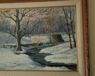 winter scene.  Gathman Painting
